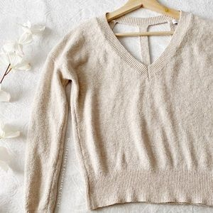 Soft Oatmeal Colored Sweater W/T-Strap Back